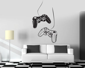 Wall Art Mural Gamer Decor Game Controllers Gaming Play Room Decor Decal (#1013d)