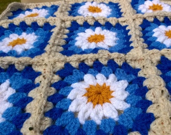 Crochet Blanket Daisy Granny Square Throw Afghan