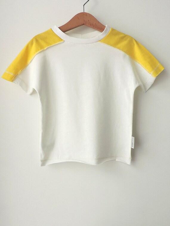 SALE, Toddler T-Shirt, Boys Girls T-Shirt, Boys Girls Top, Toddler Clothing, White And Yellow T-Shirt, Trendy Short Sleeves T-Shirt