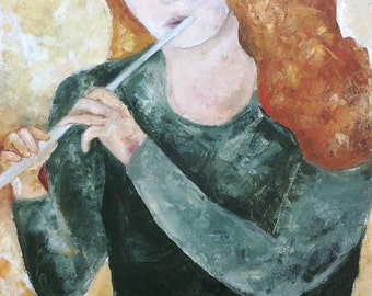 Painting Original oil painting on canvas - Woman playing flute