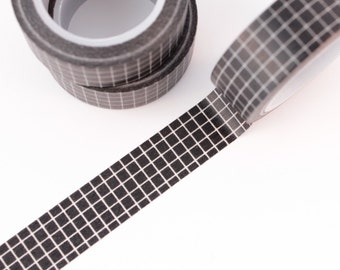 Washi Tape - 1 Roll of Black and White Grid Washi Tape - Crosshatch Patterned Washi Tape