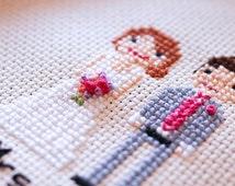 Wedding Bride & Groom / Second Anniversary Cotton Gift / 2nd Anniversary Cotton gift Custom Made Cross-Stitch Embroidered Hoop Art Portrait