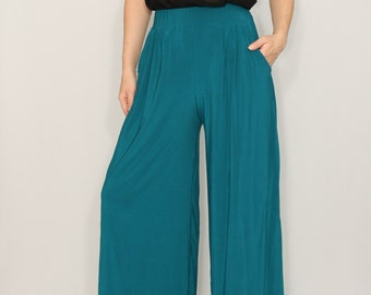 Wide leg pants Teal pants with pockets Women trousers