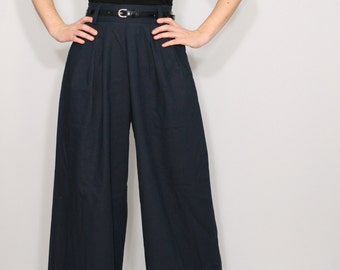 Linen Pants Wide leg pants Navy pants with pockets High waist pants