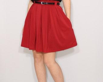 Wine red skirt Chiffon skirt High waisted skirt with pockets Womens skirt