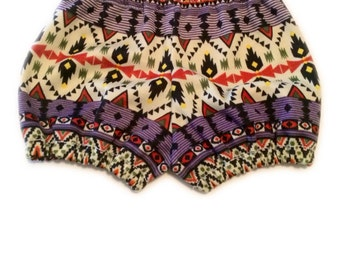 Bloomers or Cuff shorts in purple and olive aztec
