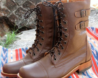 Handcrafted brown leather 2 buckle boots