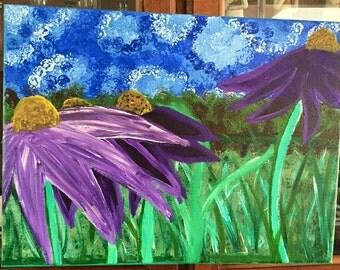 Wild Purple Coneflowers under Summer Skies