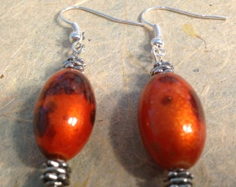 Orange with Brown Flecks Earrings