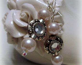 Pale Pink Pearl Earrings, Special Occasion Earrings