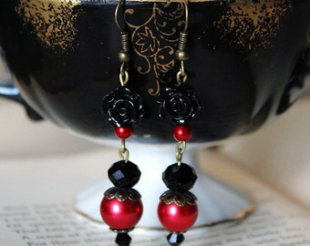 Gothic Red and Black Rose Earrings
