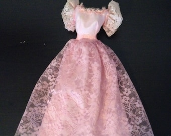 Vintage Barbie Dress - pink lace