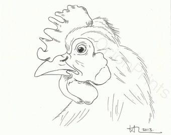 Chicken Print in Pen