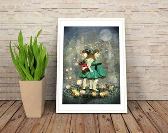 Digital Illustration, Art Print, Fairytale Art, Digital Painting, Wall Art - Lantern Girls