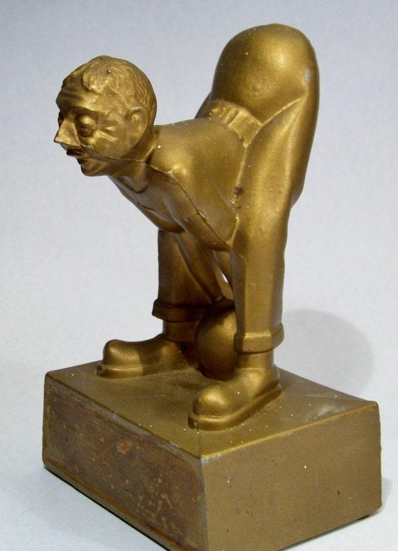 Vintage 1940 S Comic Bowler Figurine Funny Gold Metal