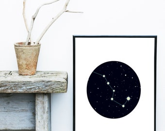 Constellation Print, Printable Art, Night Sky, Stars Print,  Modern Art, Wall Decor, Wall Art, Digital Download, Poster