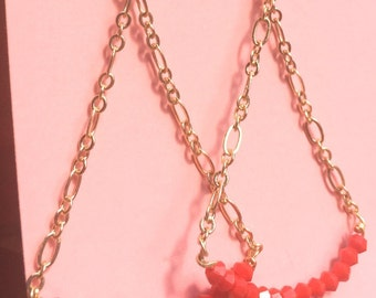 Gold/ Red Trapeze earrings