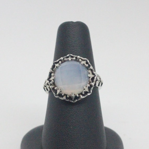 Iridescent Vintage Chalcedony Sterling Silver Ring