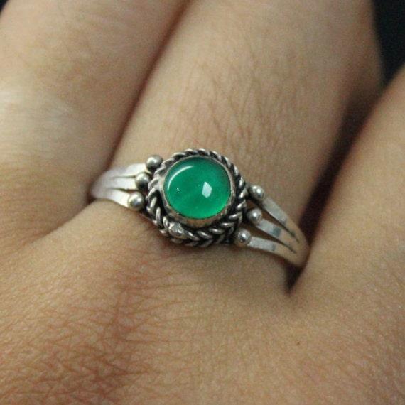 Vintage Green Onyx Silver Ring | Green Onyx Stone Ring | Silver and Green Ring | Vintage Silver Ring