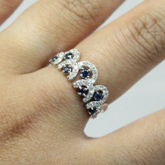 Vintage Diamond and Sapphire White Gold Ring | Scalloped Diamond and Sapphire Ring | Cocktail Ring | Vintage Engagement Ring sdf