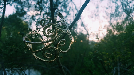 Gold swirl gypsy arm cuff bracelet