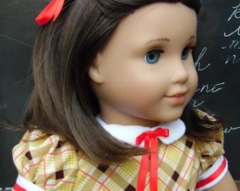 Yellow Plaid 1950s School Dress, American Girl Dress, American Girl 1950s