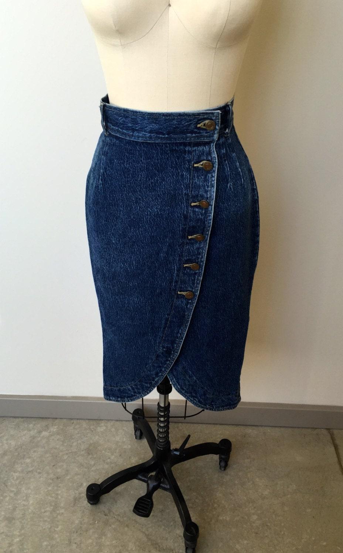 1980 s vintage denim skirt tulip garden skirt