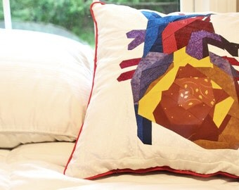 Quilted Anatomy - pillow, medical illustration, anatomic decor, nerdy medical gift