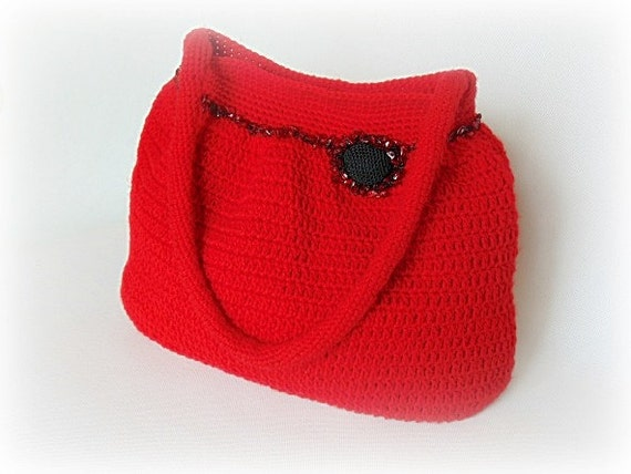 Crochet Shoulder Bag : , red handbag, crochet shoulder bag, crochet handbag, crochet bag ...