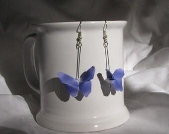 Blue Origami Butterfly Earrings