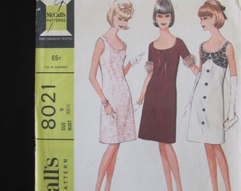 1965 McCall's 8021 Sheath Dress Pattern Misses and Junior Size 9