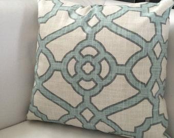 Blue Fretwork Decorative Pillow Cover, P. Kaufmann Pavilion Fretwork Tropical Blue - Light blue gray pillow - Accent Pillow - Ivory pillow