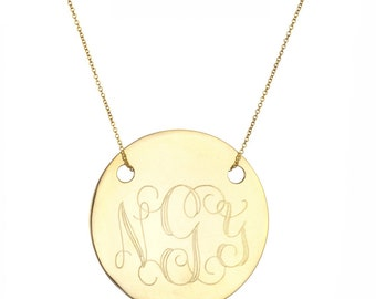 """Engraved 1"""" Monogram necklace - personalize gold monogram necklace 18k yellow gold plated 925 silver"""
