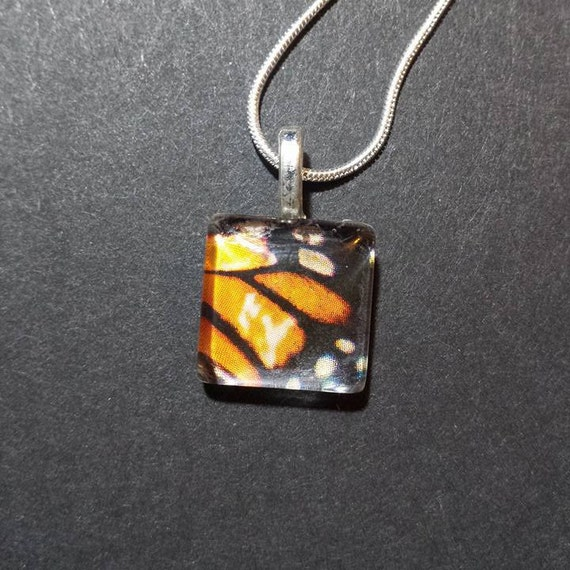 glass butterfly wing necklace pendant