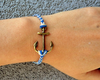 Anchor Bracelet with Hemp Cord Bands