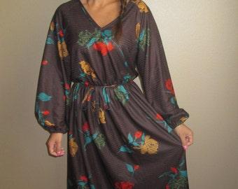 1970's Beautiful Secretary Dark Brown Floral Dress Size Medium