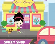 Sweet Shop Clipart - Instant Download File - Digital Graphics - Cute - Crafts, Web, Parties - Commercial & Personal Use - #P001