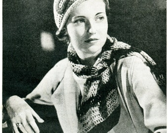 1930's Crocheted Hat & Matching Scarf Stunning Vintage Design PDF Pattern Instant Download