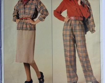 Vintage Vogue 0995 Women's Jacket Skirt Pants Blouse 1980's