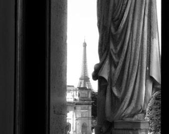 Paris Fine Art Print, Louvre Window View, Architecture Photography, Eiffel Tower, Arc de Triomphe du Carrousel, Black and White Eiffel
