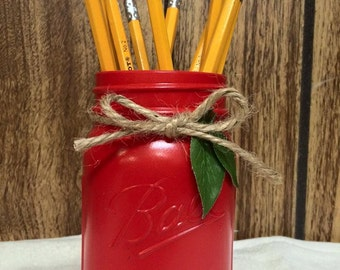 Hand Painted Apple Mason Jar Pencil Holder - Teacher Gift