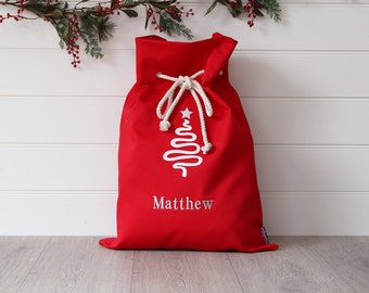 Personalised Santa Sack Red Tree,christmas sack,christmas bag,personalized santa sack,christmas name bag,kids christmas decoration,xmas bag