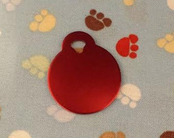 Pet ID Tags, Dog Tags, Cat Tags, Engraved Pet ID Tags, Small Red Circle Tag