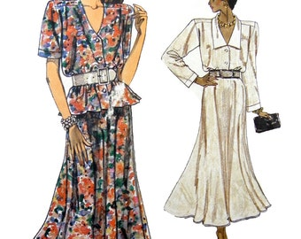 1987 Very Easy Very Vogue 9905 Misses' Loose-Fit Top and Flared Skirt Sewing Pattern Size 8