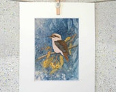 Kookaburra, bird, original watercolour painting fine art print on paper by Elena Parashko, Australian native bird, Kookaburra in a gum tree