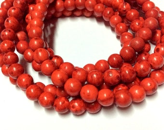 6mm Red Turquoise Gemstone Beads - 16inch Full strand - Round Turquoise