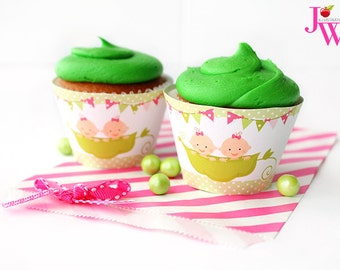 Sweet Peas Twin Girls Printable Cupcake Wrappers, Cupake Wraps, Sweet Pea Baby Shower, Peapod Girls Cupcake Wrappers, Sweet Pea Twin Baby