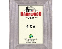 """BarnwoodUSA Picture Frame 4x6 Rustic Reclaimed Wood 1 1/4"""" wide molding with easel back and glass"""