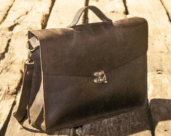 Brown leather laptop bag - Leather crossbody satchel - handmade laptop leather bag - handmade leather bag-Jami Bag - Unise...