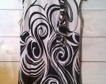 60s B&W psychedelic shift dress Sz M